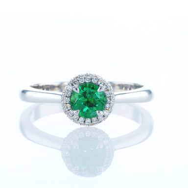 Round Pave Ring with 0.52 Round Natural Emerald