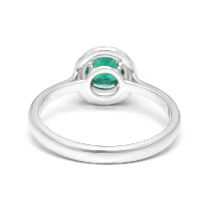 Double Halo Ring with Natural Round Emerald and Diamonds