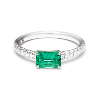 Engagement Ring Set with a 0.97ct Natural Emerald and Diamonds (1.21ct TW)