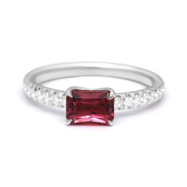 "Solitaire Ring Set with Natural Pink Tourmaline ""Rubellite"" and Diamonds"