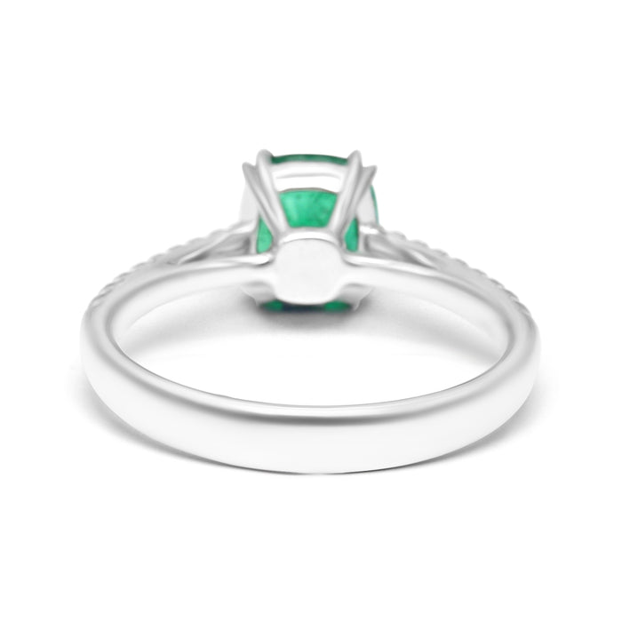 Solitaire Ring Set with Cushion Shape Emerald and Diamonds