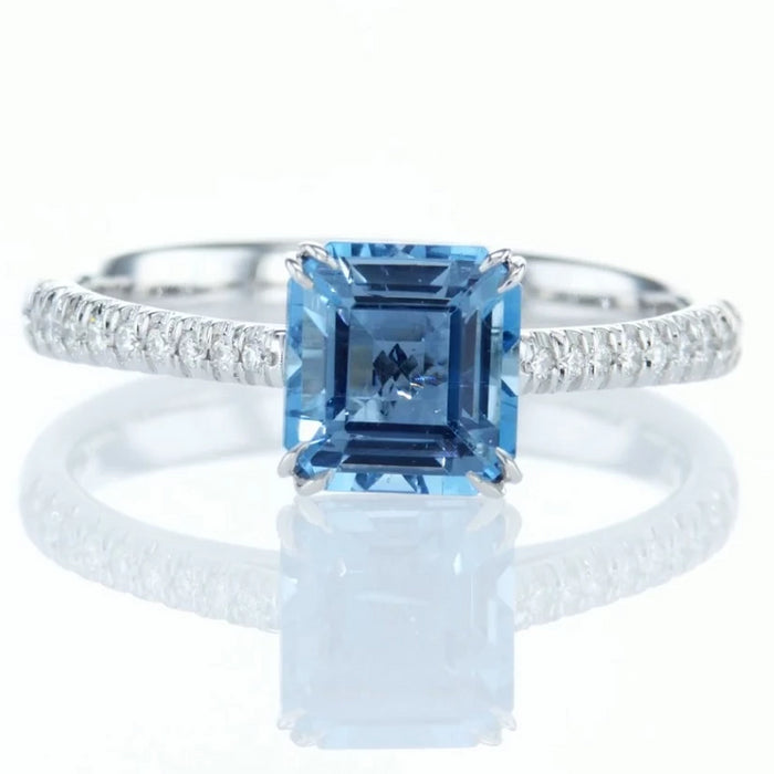 """Sky"" Engagement Ring with Natural Aquamarine"