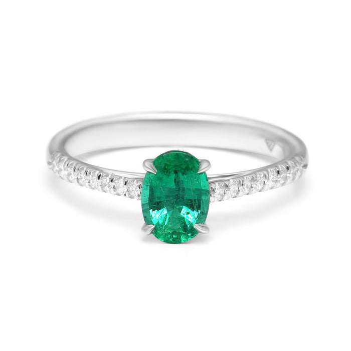 Solitaire Ring Set with Natural Oval-Shaped Emerald and Diamonds