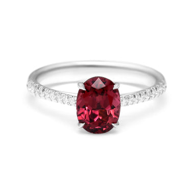 Solitaire Ring Set with 1.86ct Oval Shape Natural Rubillite and Diamonds