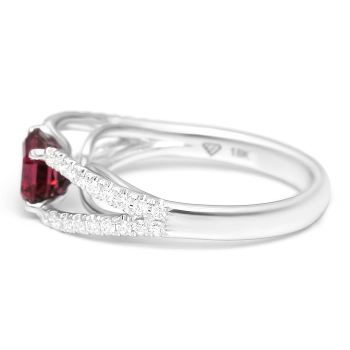 Solitaire Ring Set with Natural Rubellite