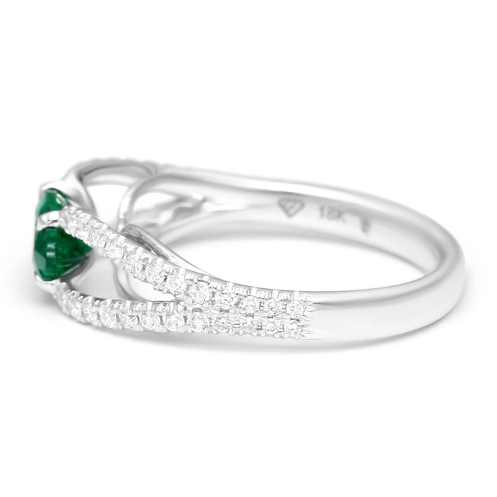Double Sided Diamond Ring Set with 0.88ct Marquise Shape Natural Emerald