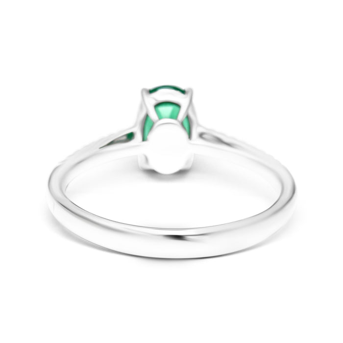 Solitaire Ring set with Natural Oval Shape Emerald and Diamonds