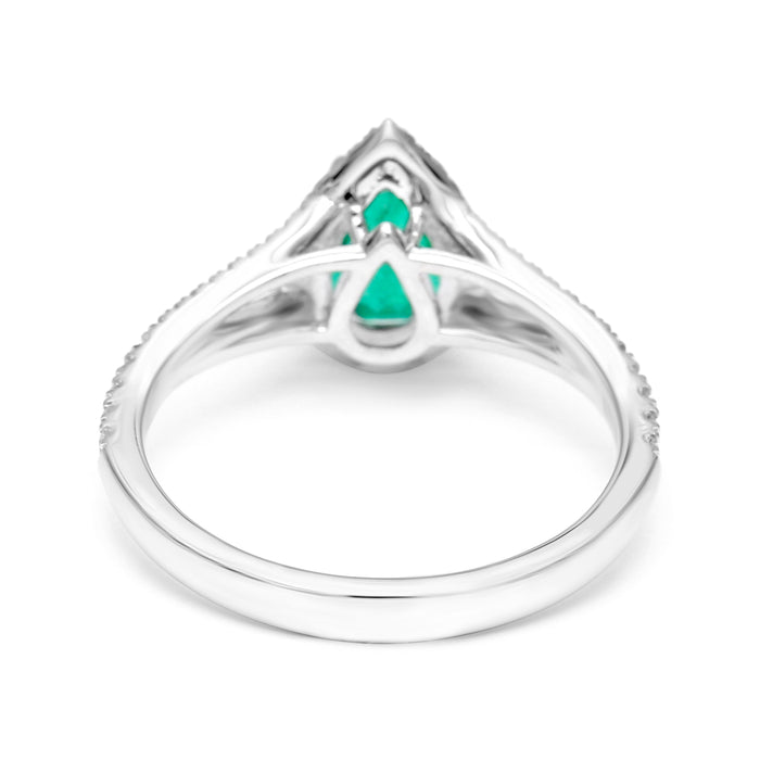 Solitaire Ring Set with a 1.03ct Natural Pear Shape Emerald and Diamonds