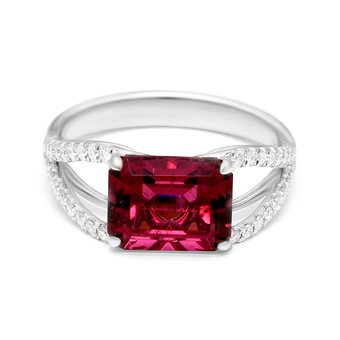Split Shank Ring with a 3.31ct Natural Rubellite and Diamonds (3.58ct TW)
