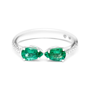 Twin Pears Ring with a natural Emerald