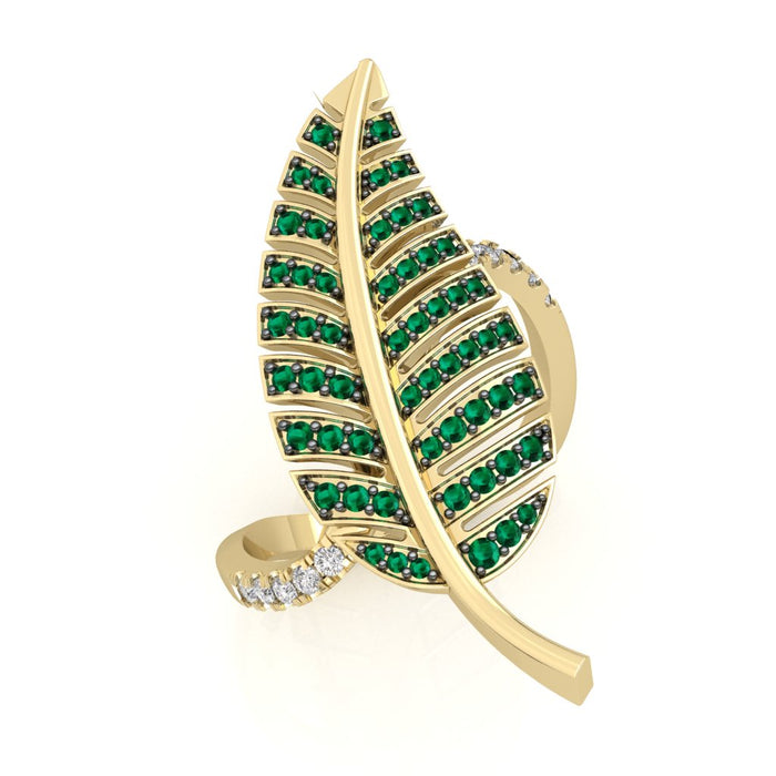 """Leaf"" Ring with Diamond and Emeralds"