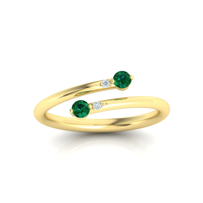"""Judy"" Ring with Natural 2 Round Gemstones"