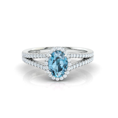 """Alyson"" Oval Shape Halo Ring with Natural Gemstone"