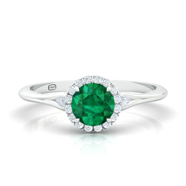 """Juliana""  Halo Ring with a Natural Gemstone"