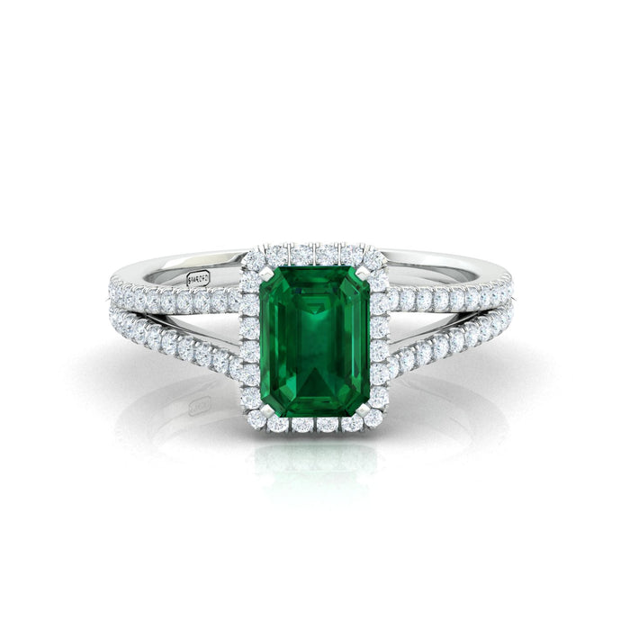 """Amanda"" Emerald Cut Halo Ring with a Natural Gemstone"