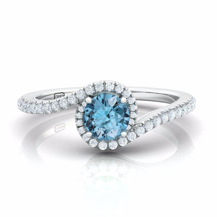 Engagement Harmony Ring with Diamonds And Natural Gem