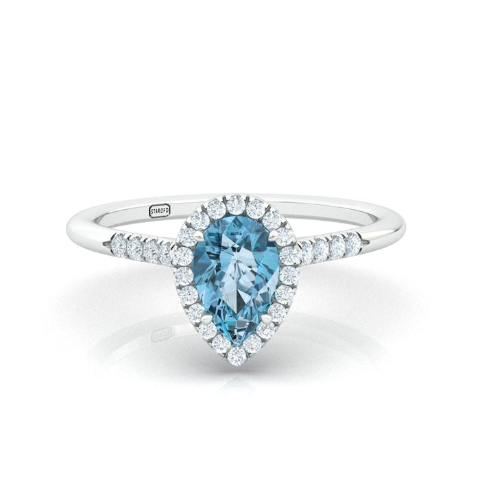 """Jennifer"" Pear Shape Halo Ring with a Natural Gemstone"