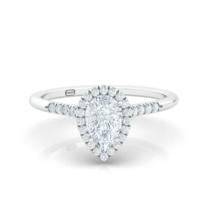"""Jennifer"" Pear Shape Halo Engagement Ring"