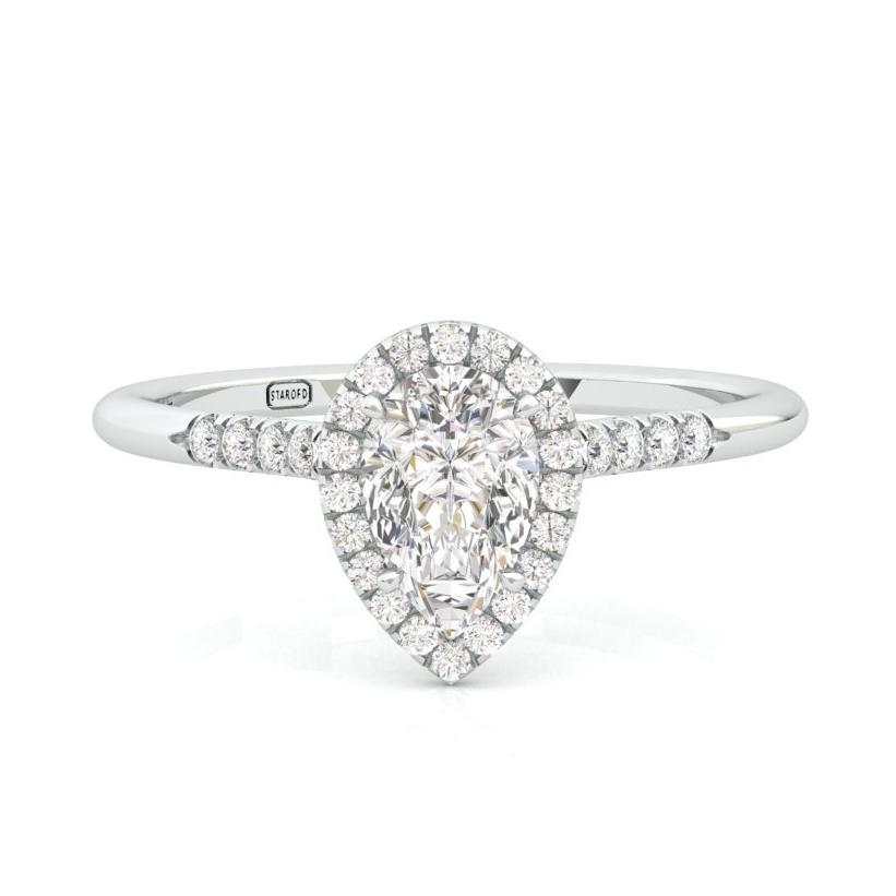 d312dd60f0b792 Pear Shape Engagement Halo Ring With Diamonds And Natural Gem - Star ...