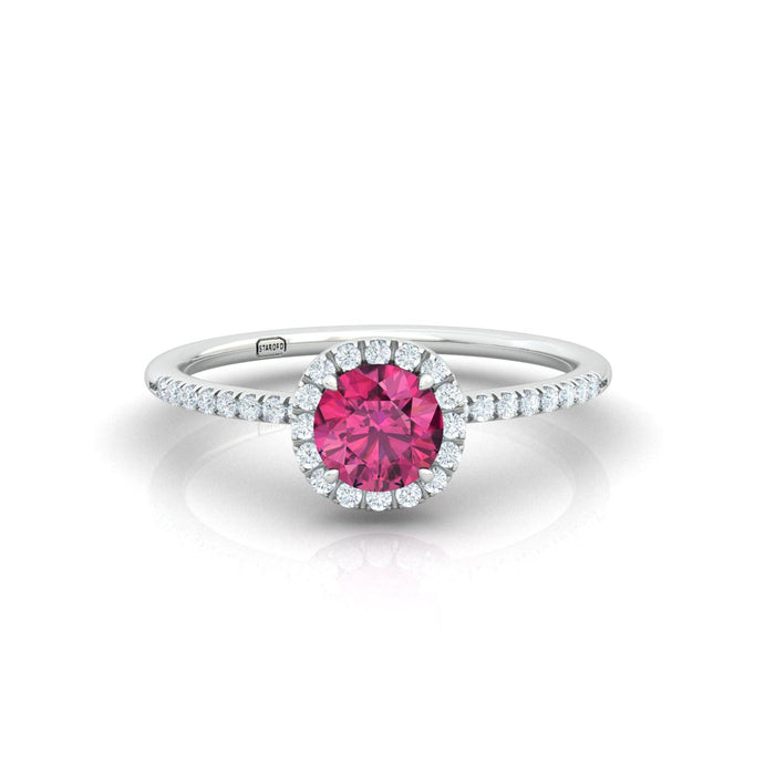 """Gal"" Halo Ring with Natural 5mm Gemstone"