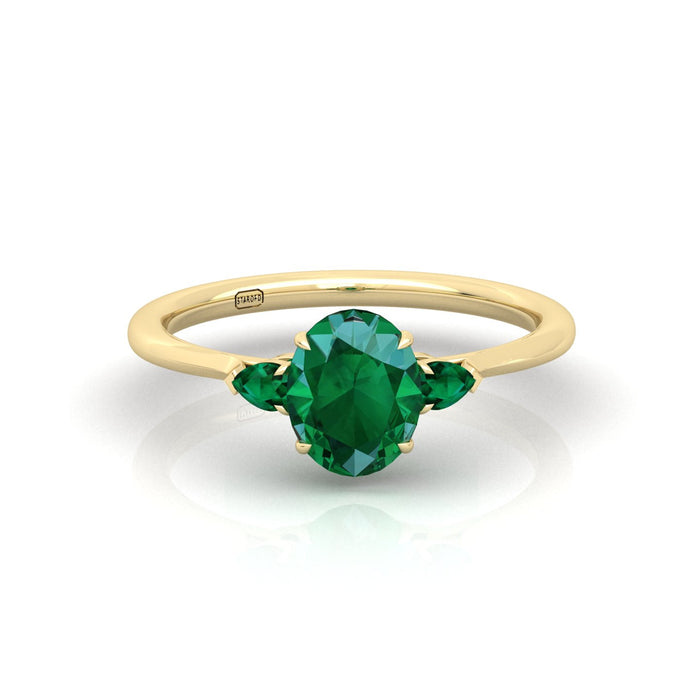 """Kristen"" Three Stone Ring with Natural Gemstone"