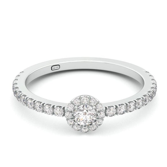 Halo Ring Set with a Round Diamond or Gemstone