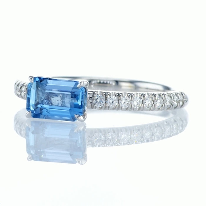 """Blue Mere"" Ring with Natural Aquamarine"