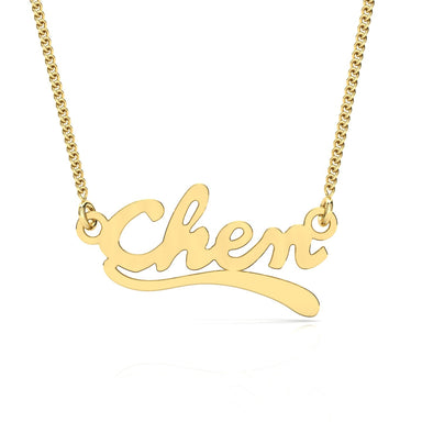 "Name Necklace ""Wave"" Gold Pendant"