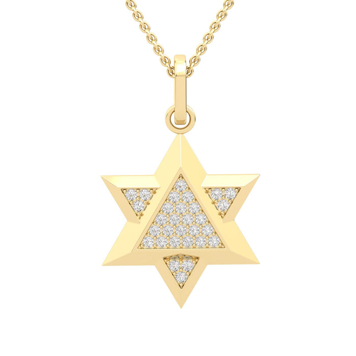 Star of David Gold Pendant Pave