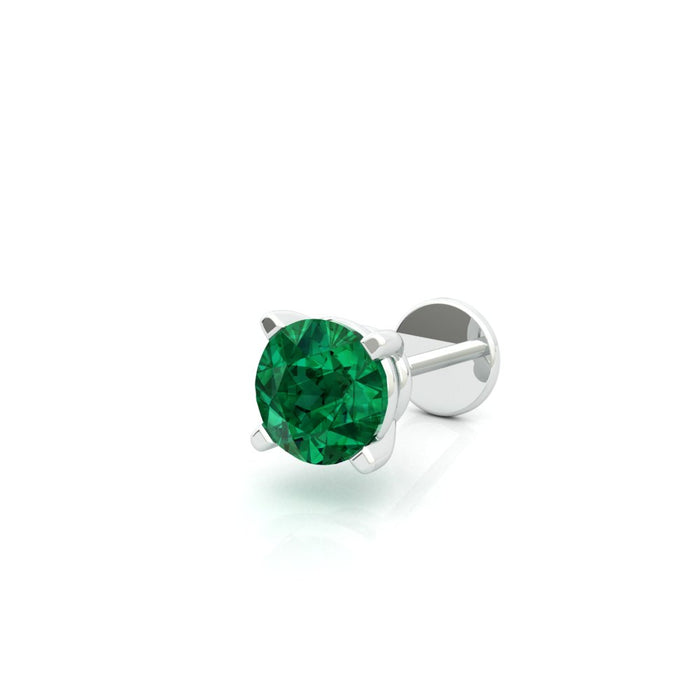 Single Stud Earring with Emerald