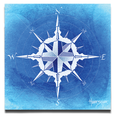 Florida Compass Blue Canvas Print