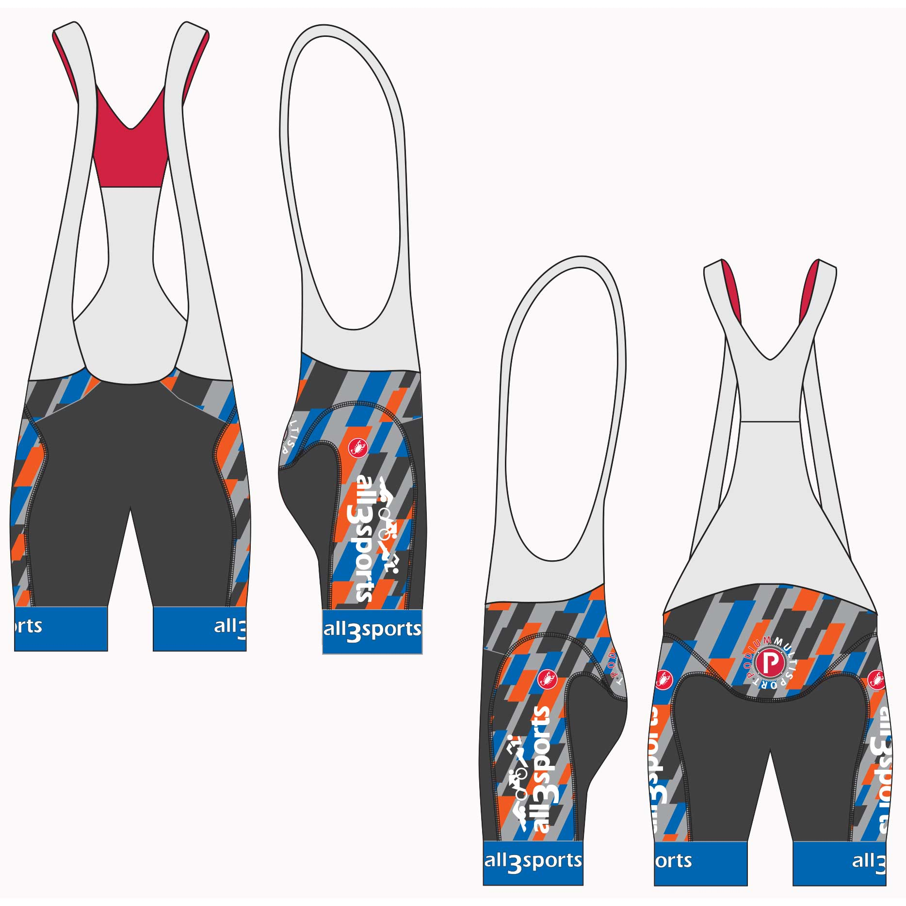 2019 all3sports.com Team Aero Race Bib Shorts