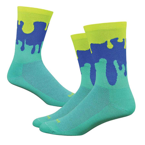 "DeFeet Aireator 6"" Socks Celeste/Hi-Vis Yellow/Blue"