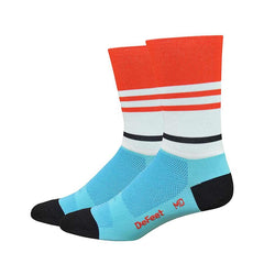 "DeFeet Aireator 6"" Socks Light Blue/Poinciana"