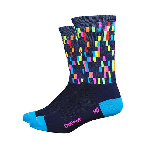 "DeFeet Aireator 6"" Socks Navy w/ process blue and hi-vis pink"