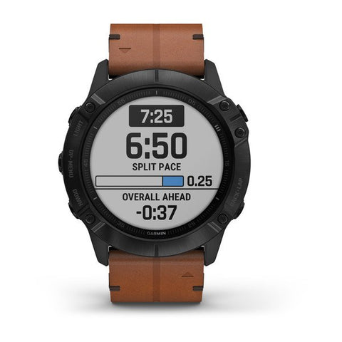 Garmin fenix 6X Sapphire 51mm Black, Wristband: Chestnut Leather