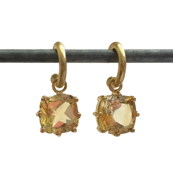 22k Citrine Cushion Cut Dangles for Hoops (medium)
