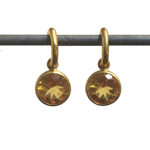 Citrine Round Dangles for Hoops - 22k (lg)
