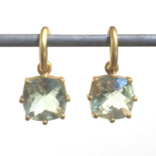 Green Amethyst Cushion-Cut Dangles for Hoops - 22k (lg)