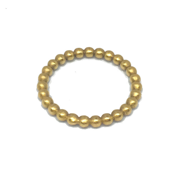 2.5 mm Full Round Beaded Ball Ring - 18k