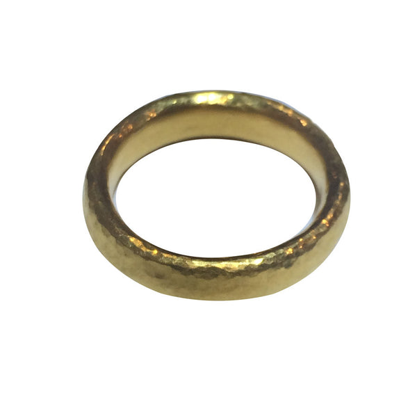 Handcrafted Wide 24K Hammered Band