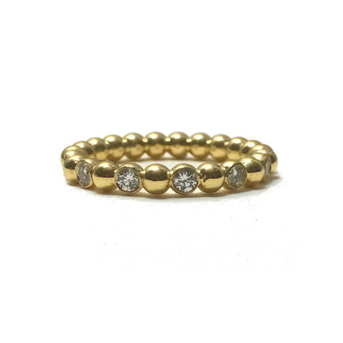 18K Beaded Ball Ring with Diamonds - Eternity Band
