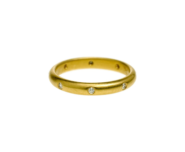 22k Half Round Classic 3mm Diamond Band