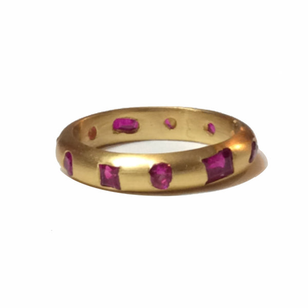 3mm 22k Ruby Mosaic Ring