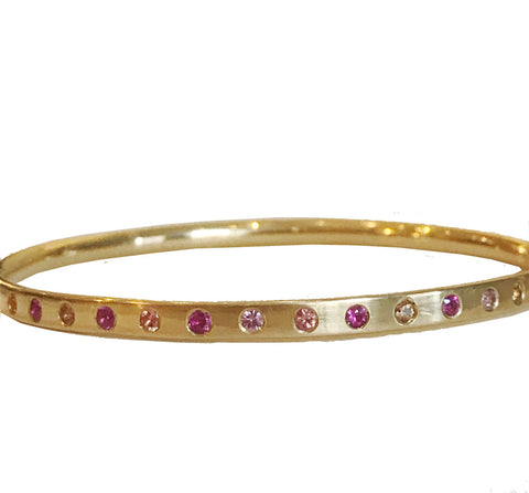 18k Ruby, Pink Sapphire and Orange Sapphire Bangle
