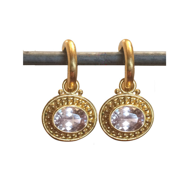 22k Morganite Horizontal Deborah Lee Drops for Hoops