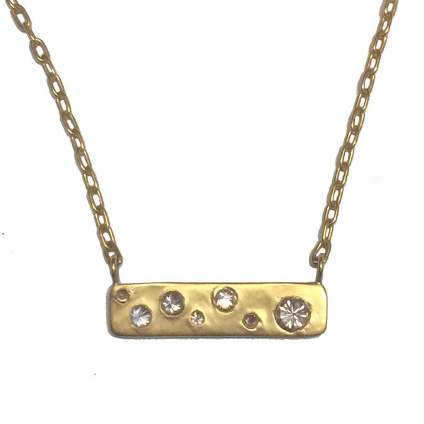 Diamond Mosaic Bar Necklace - 22k