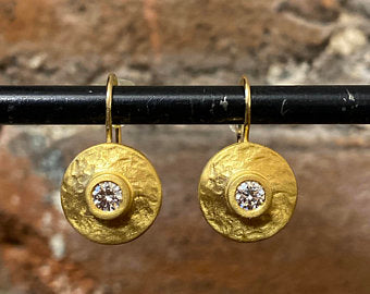 18k or 22k Hammered Disks w/ Diamonds (also available in sapphires or rubies)