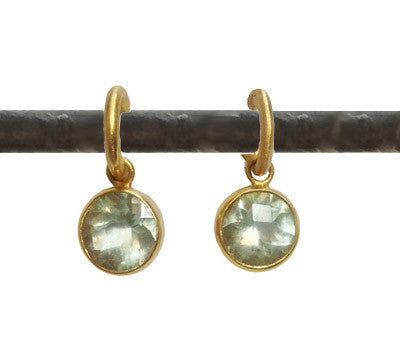Green Amethyst Set in Round 22k Bezels (10mm stone)