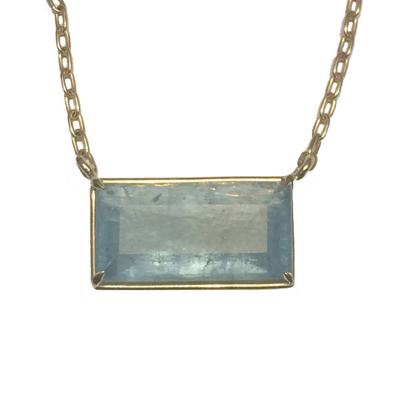 Aquamarine Bar Necklace - 18k